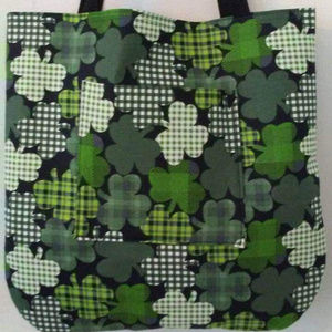 Green Irish Plaid Clover Tote